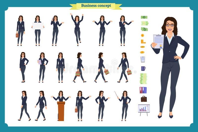 Готовый к употреблению набор символов дамы Молодая бизнес-леди в официально носке Различные представления и эмоции иллюстрация вектора