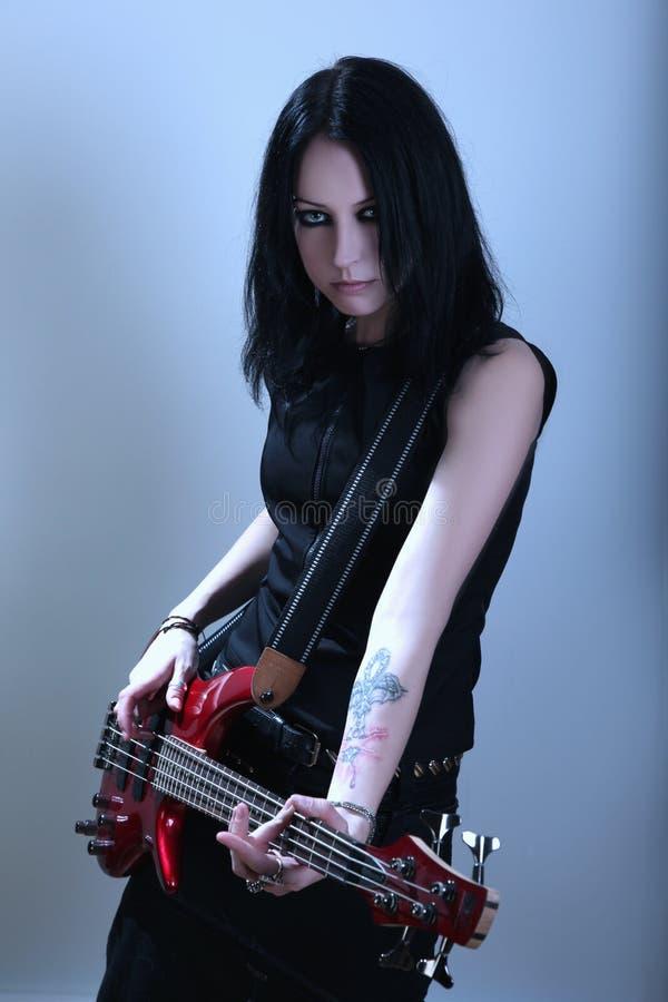 готская женщина гитары стоковое фото