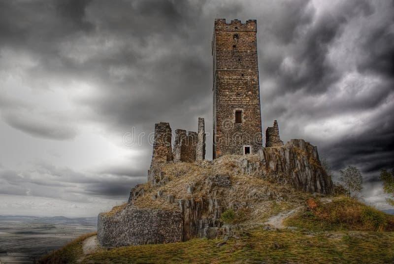Готский замок Hazmburk, наземный ориентир стоковое изображение rf