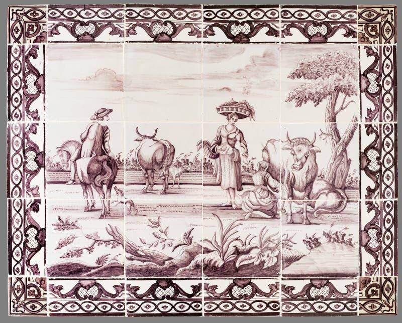 Голландская плитка от шестнадцатого к XVIII веку стоковое фото rf