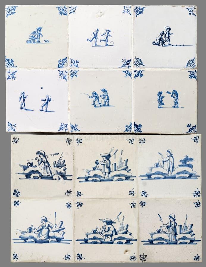 Голландская плитка от шестнадцатого к XVIII веку стоковое изображение