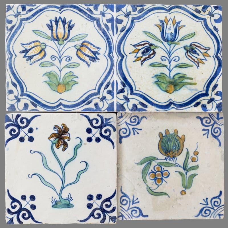 Голландская плитка от шестнадцатого к XVIII веку стоковые изображения rf