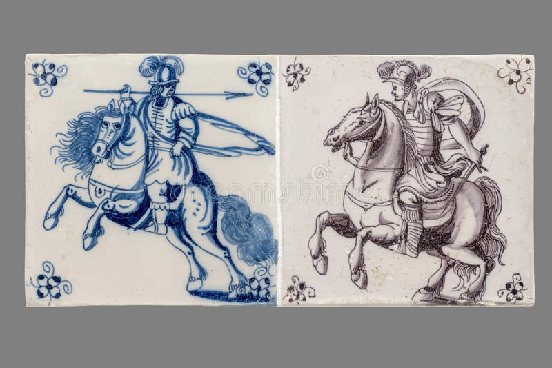 Голландская плитка от шестнадцатого к XVIII веку стоковая фотография rf