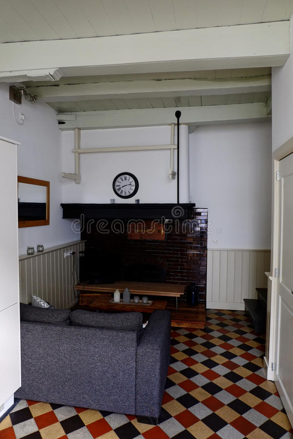Голландская ретро живущая комната стоковое фото rf