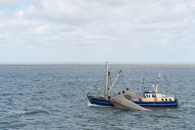 Голландская рыбацкая лодка на море wadden стоковое изображение rf