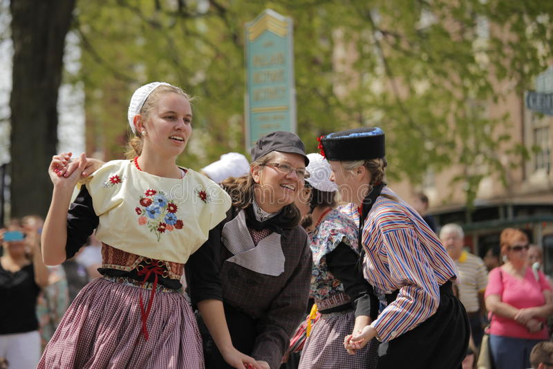 Голландские танцоры в Голландии Мичигане стоковое фото