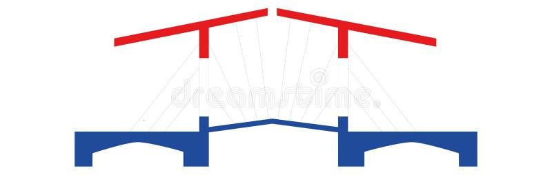 Голландский мост в красной белой сини иллюстрация штока