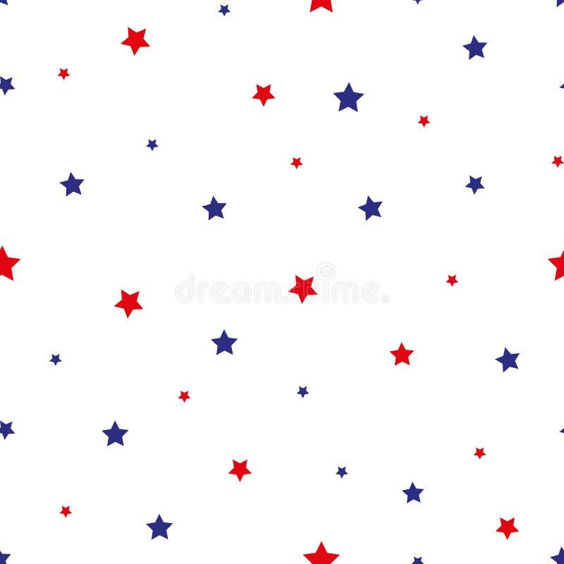 4-го июля Stars Grunge Abstract Seamless Pattern, окрашенный в американский флаг Векторная иллюстрация фонового грануля звёзд бесплатная иллюстрация