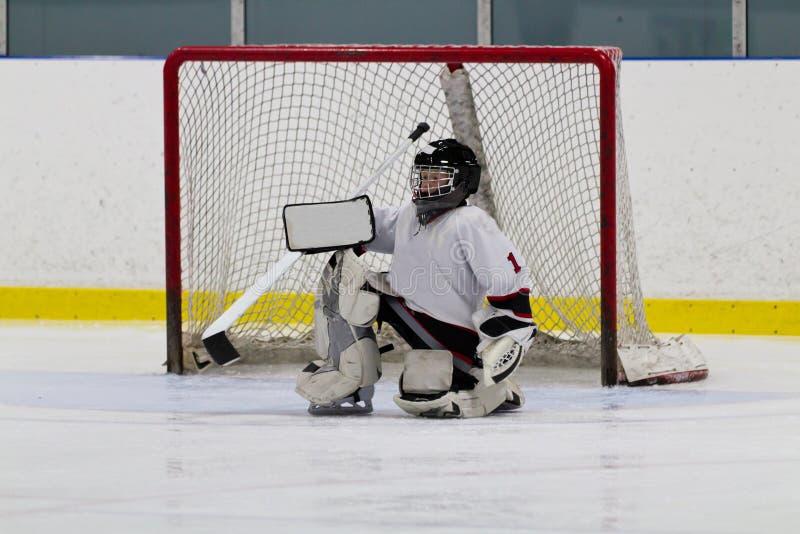Голкипер хоккея на льде перед сетью стоковые изображения rf