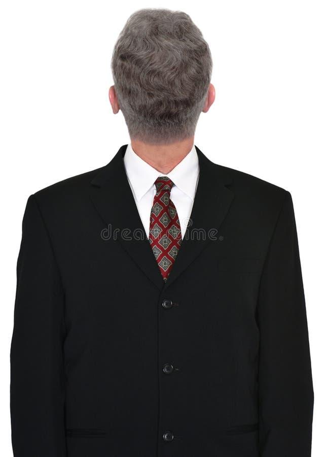 Голова бизнесмена ОН назад, изолированное дело, стоковые изображения