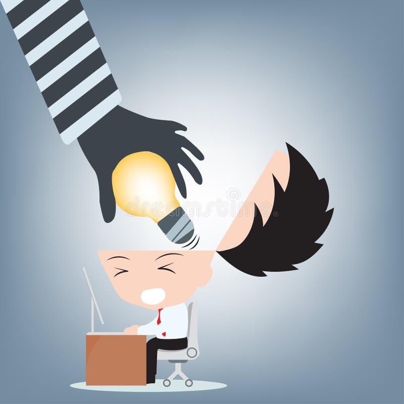 Голова бизнесмена руки похитителя открытая и крадет идею от его мозга, творческий вектор электрической лампочки иллюстрации конце иллюстрация вектора