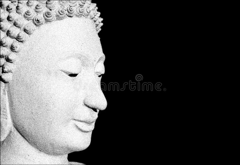 Голова Будды на черной предпосылке стоковая фотография rf