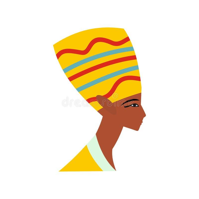 Голова значка Nefertiti, плоского стиля иллюстрация штока