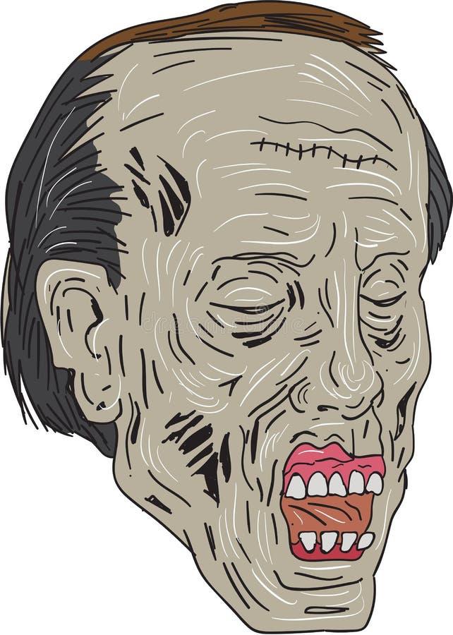 Голова зомби чертеж взгляда 3 кварталов иллюстрация вектора