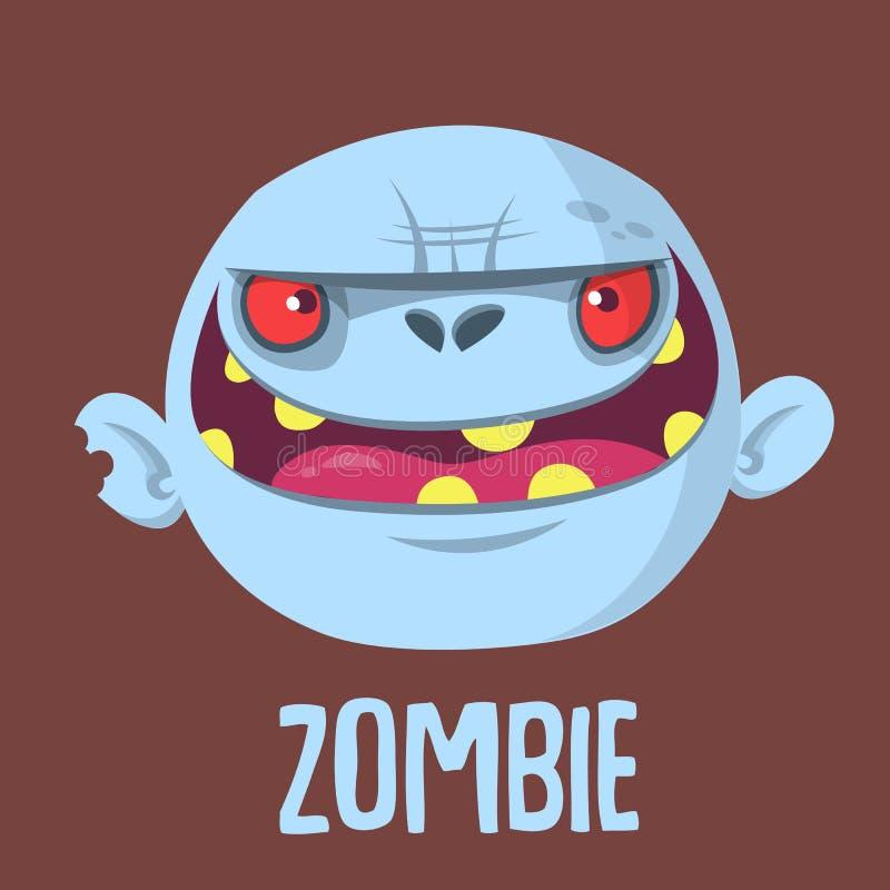 Голова зомби шаржа смешная серая также вектор иллюстрации притяжки corel иллюстрация вектора