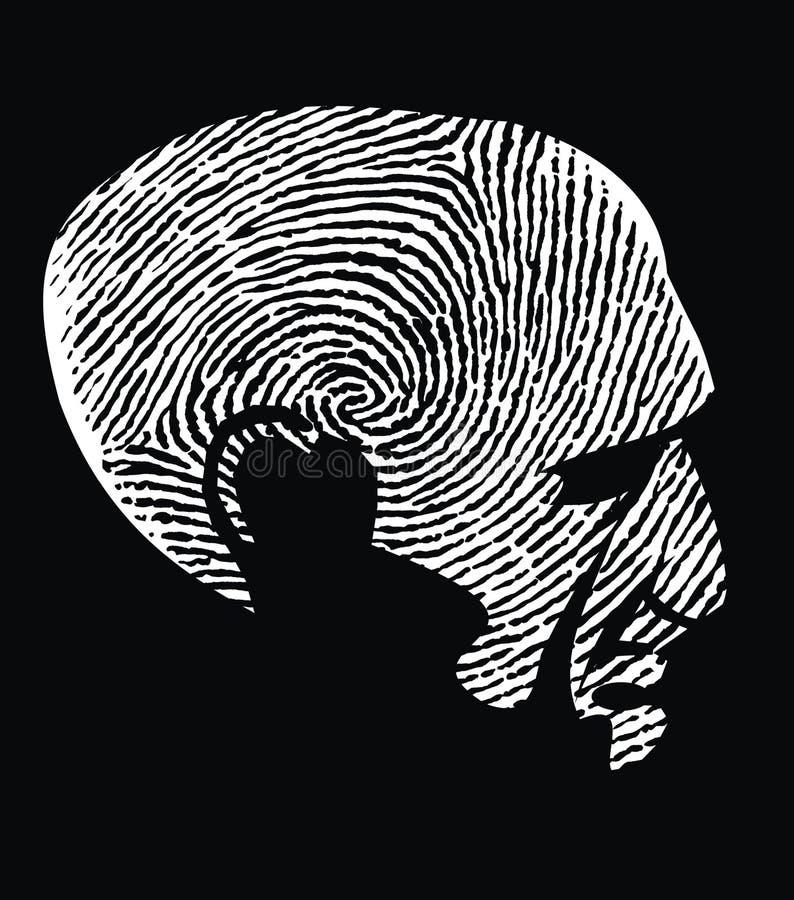 Голова как фингерпринт иллюстрация штока