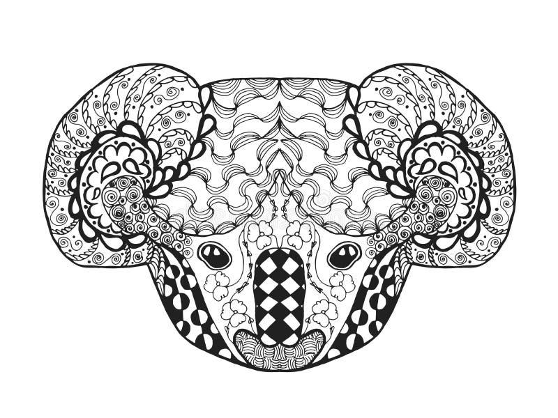 Голова коалы Zentangle стилизованная Эскиз для татуировки или футболки иллюстрация вектора
