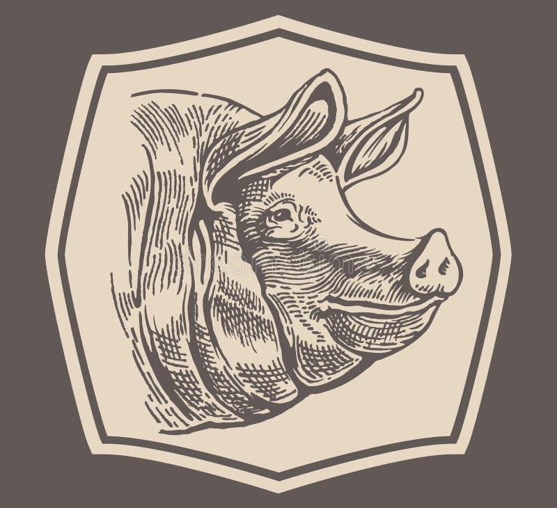 Голова к свинье иллюстрация штока