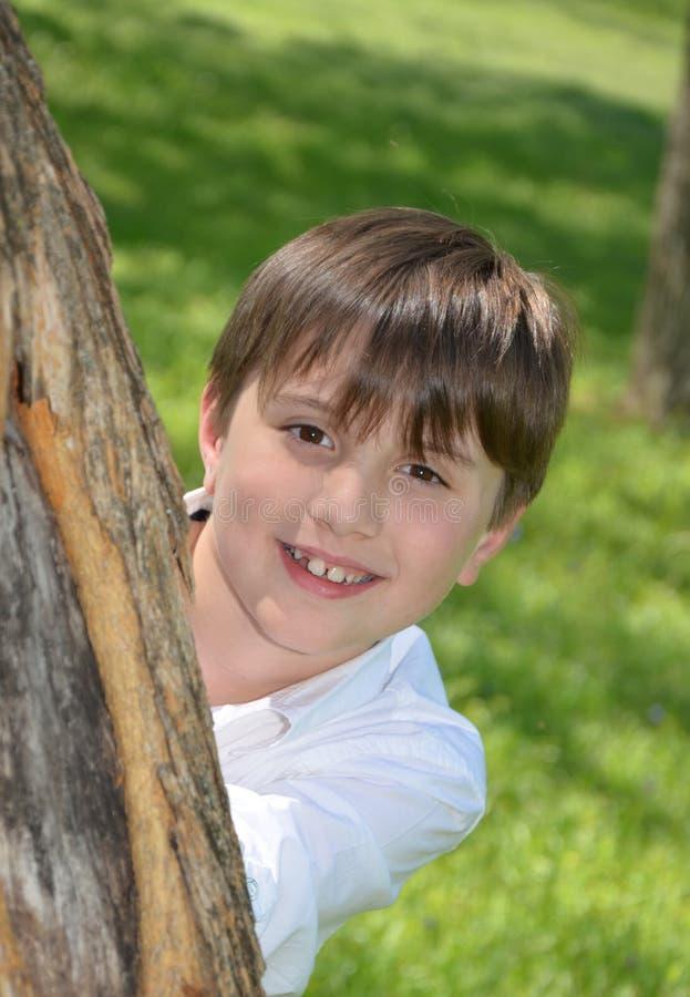 Голова мальчиков за деревом стоковое изображение rf
