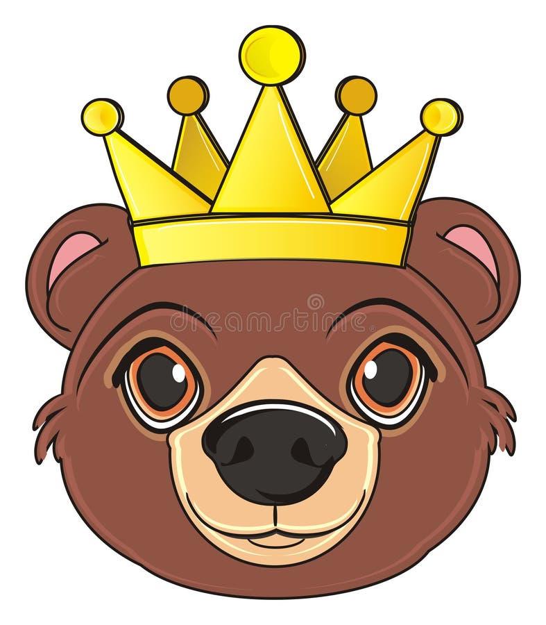 Голова медведя с кроной иллюстрация вектора