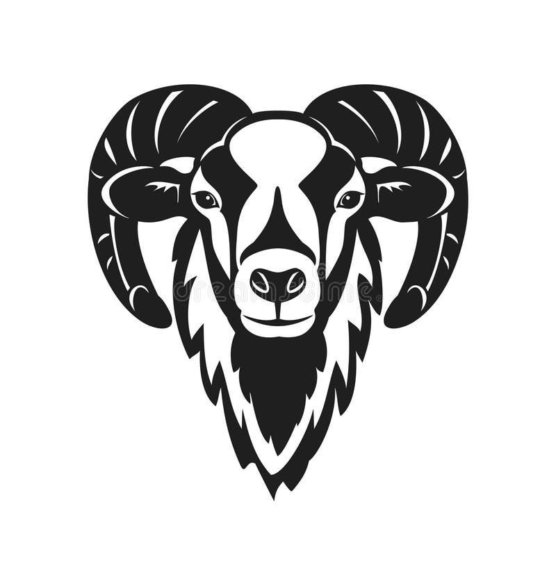 Голова овец Mouflon иллюстрация вектора