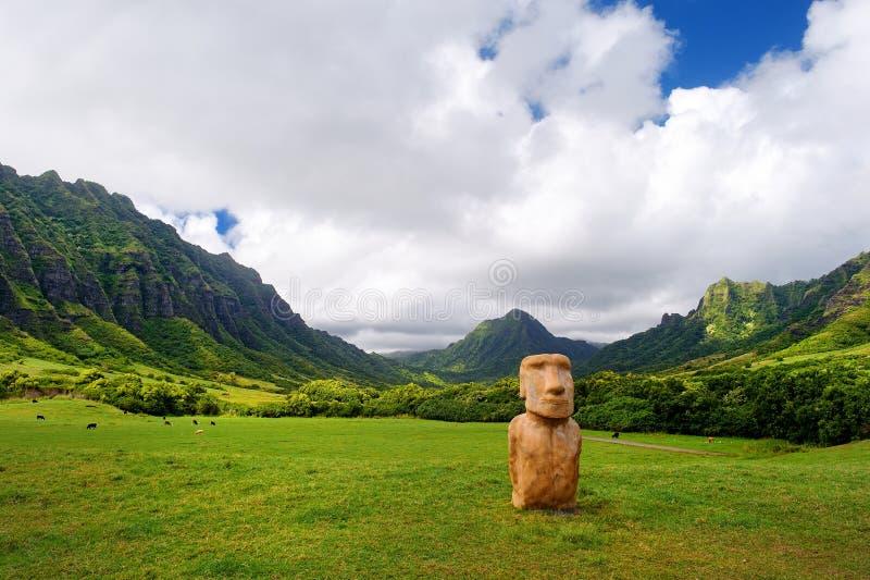 Голова острова пасхи на ранчо Kualoa, Оаху стоковая фотография rf
