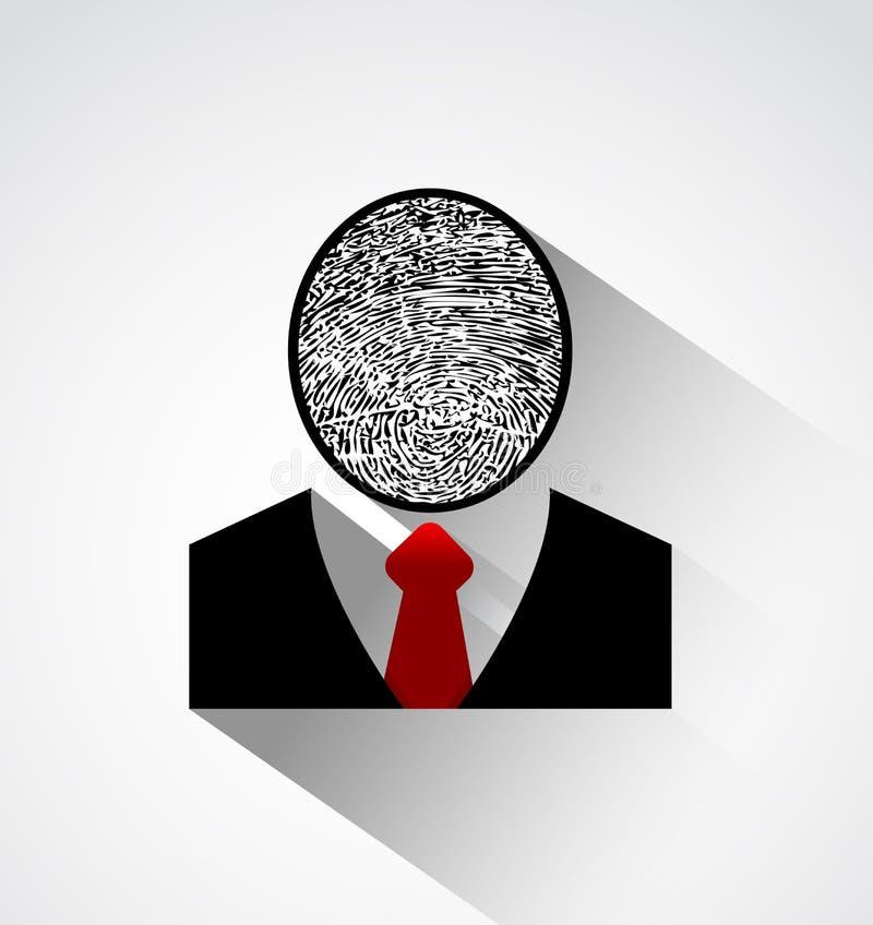 Голова отпечатка пальцев силуэта персоны, защищает индивидуальную концепцию идентичности иллюстрация штока