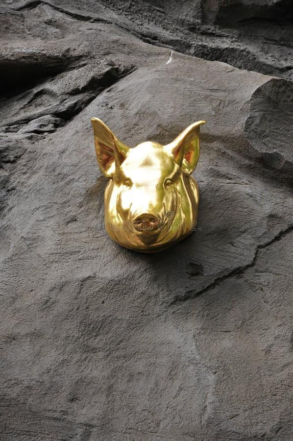 Голова свиньи золота стоковые фото