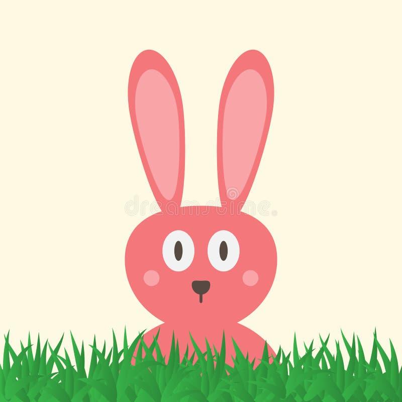 Голова смешного розового кролика с большими глазами Зеленая трава карточка пасха иллюстрация штока