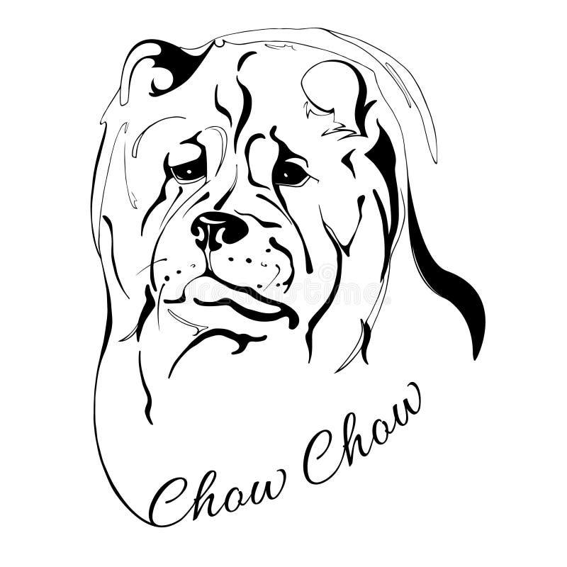 Голова собаки чау-чау Chow иллюстрация вектора