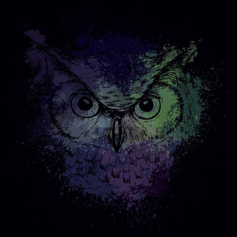 Голова сыча на ноче на предпосылке ярких покрашенных пятен иллюстрация вектора