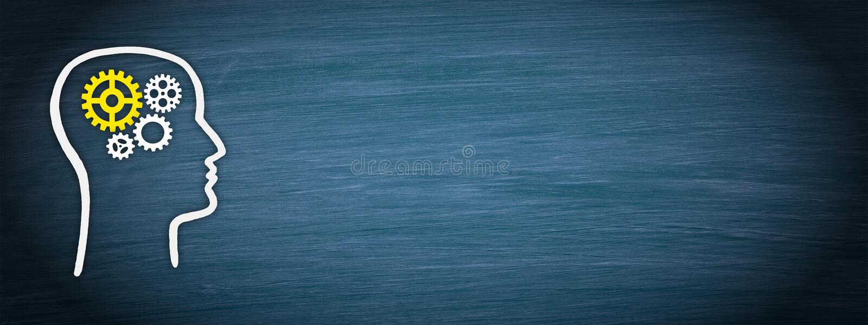 Голова с cogwheels на голубой предпосылке бесплатная иллюстрация