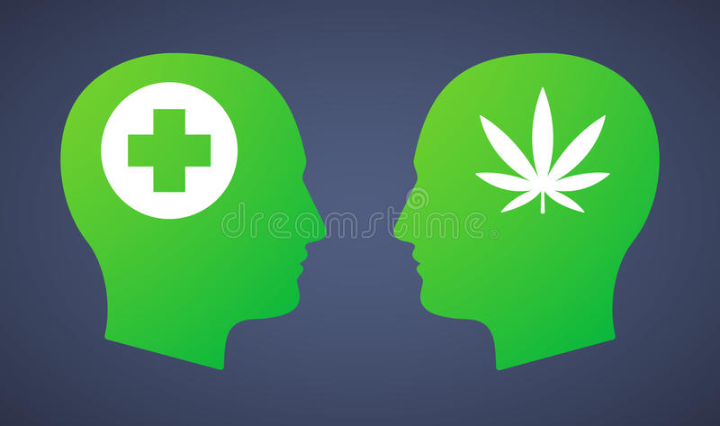 Голова установила с лист марихуаны и знаком фармации стоковые фотографии rf