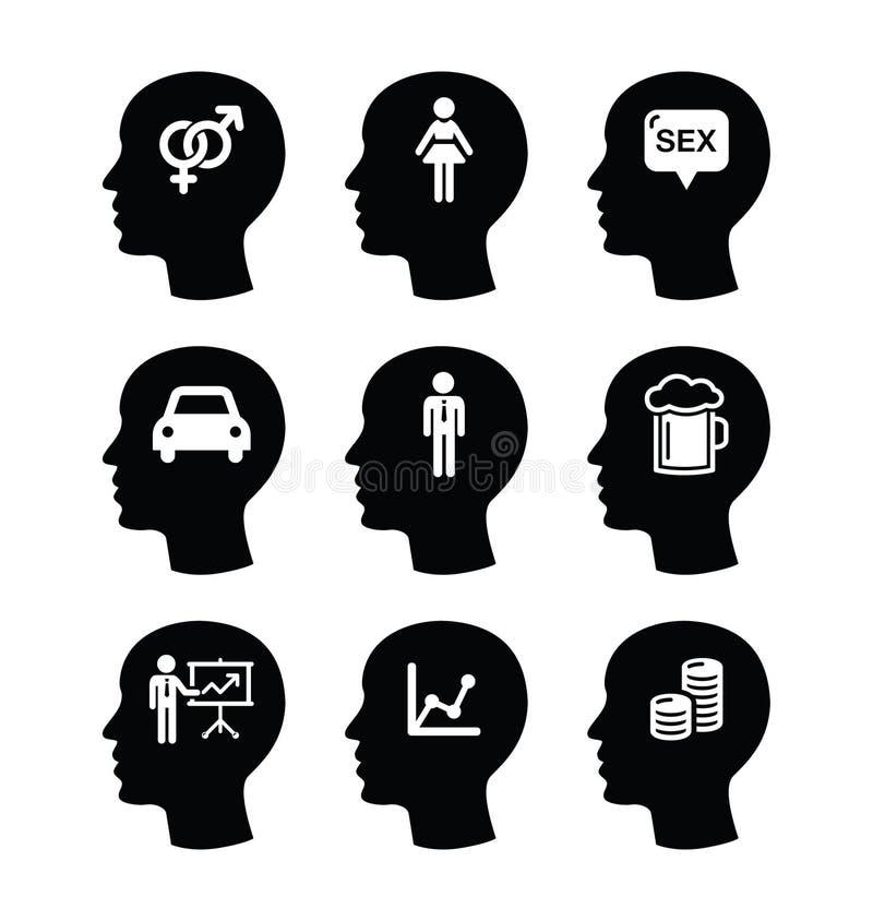 Голова, установленные значки мыслей человека иллюстрация вектора