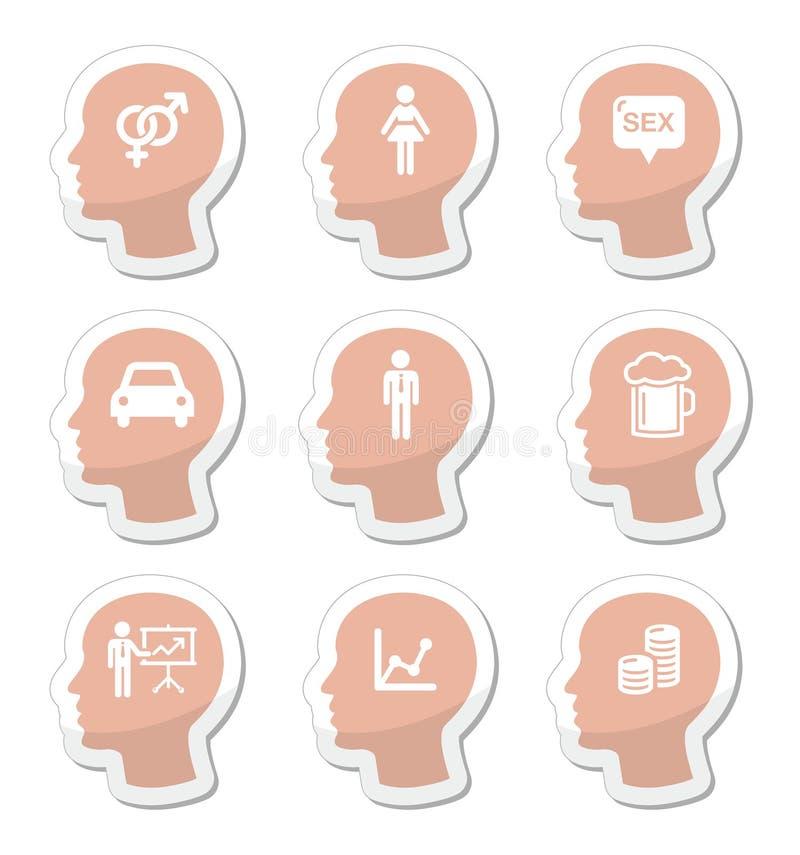 Голова, установленные значки мыслей человека бесплатная иллюстрация