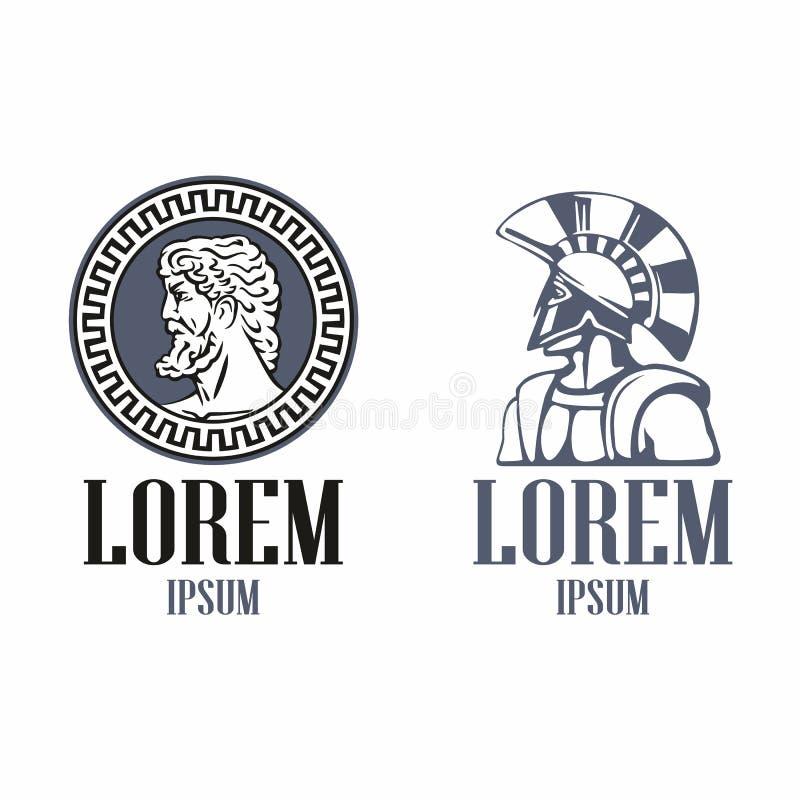 Голова философа древней греции и спартанский ратник в традиционном шлеме иллюстрация штока