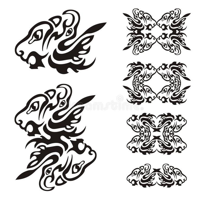 Голова хищника сформированная 2 элементами: голова льва и орла иллюстрация вектора