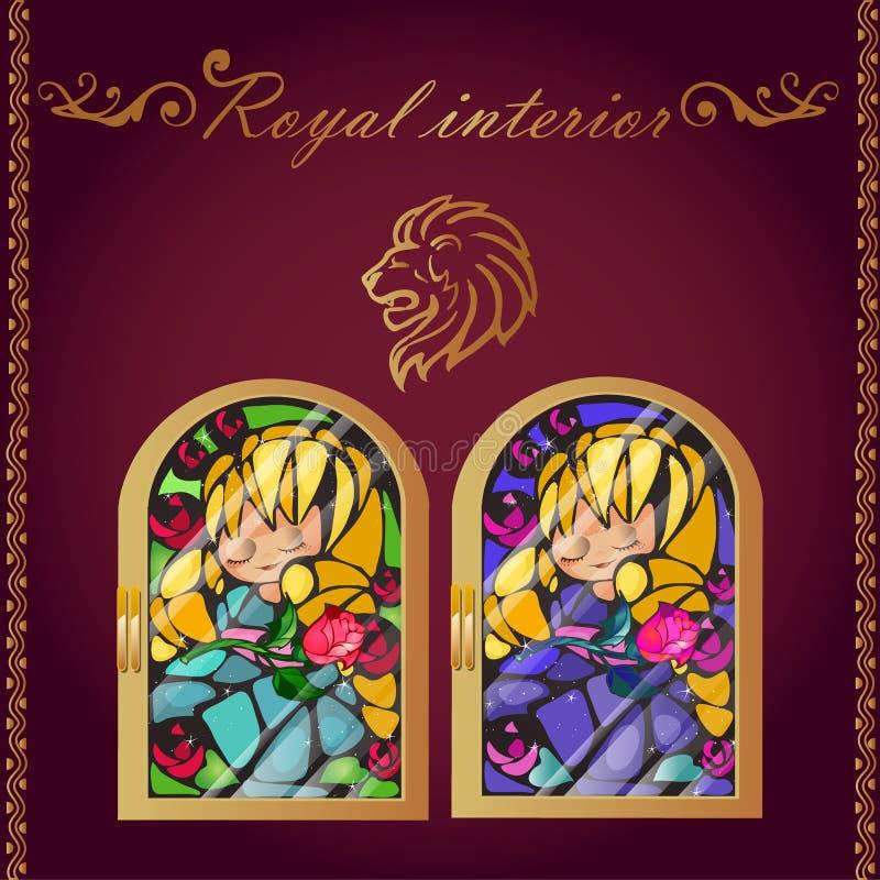 Голова льва и изображение мозаики в рамке золота иллюстрация штока