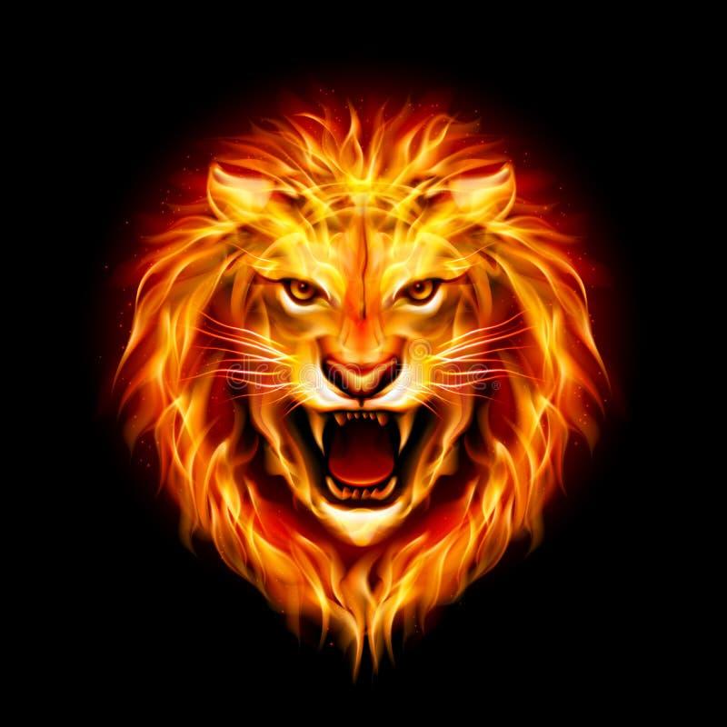 Голова льва огня. иллюстрация штока
