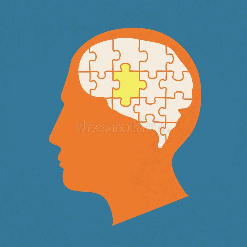 Голова людей с элементами головоломок иллюстрация вектора