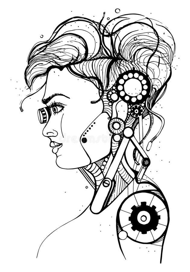 Головной женский киборг Силуэт концепции, череп, профилирует красивую девушку Иллюстрация вектора контура на белой предпосылке иллюстрация вектора