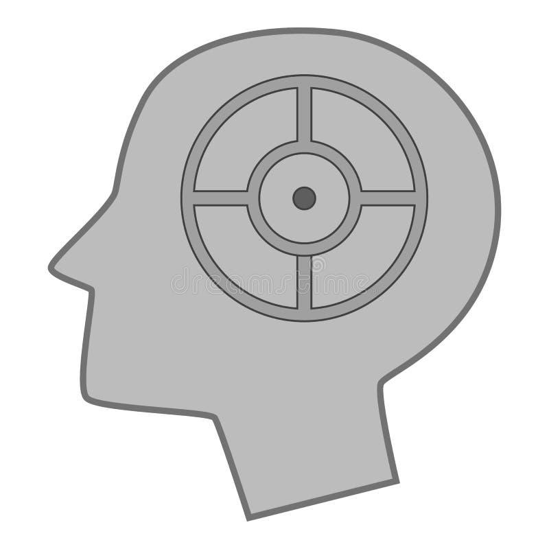 Головной силуэт с целью внутри monochrome значка иллюстрация вектора