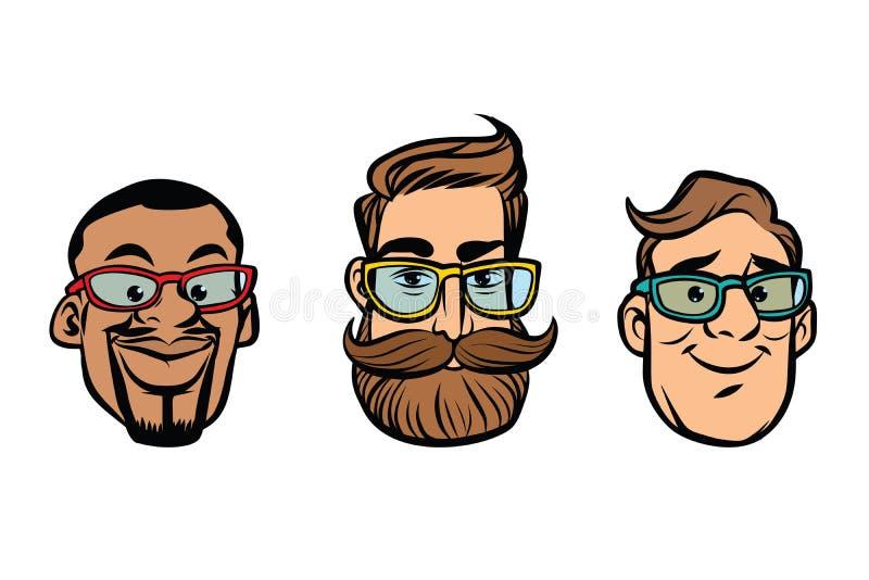 Головные стильные парни, битники, мульти-этническая группа иллюстрация вектора