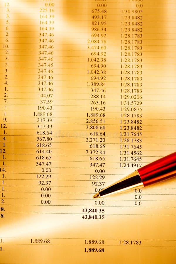 Годовой бюджет и красная ручка стоковое фото