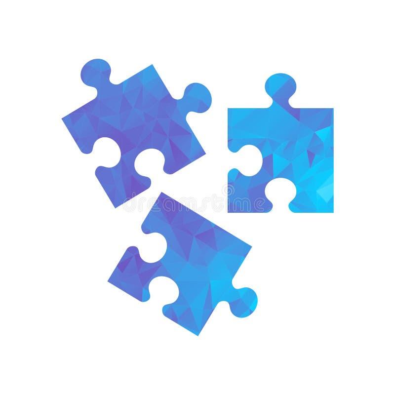 Головоломка значка полигона голубая иллюстрация вектора