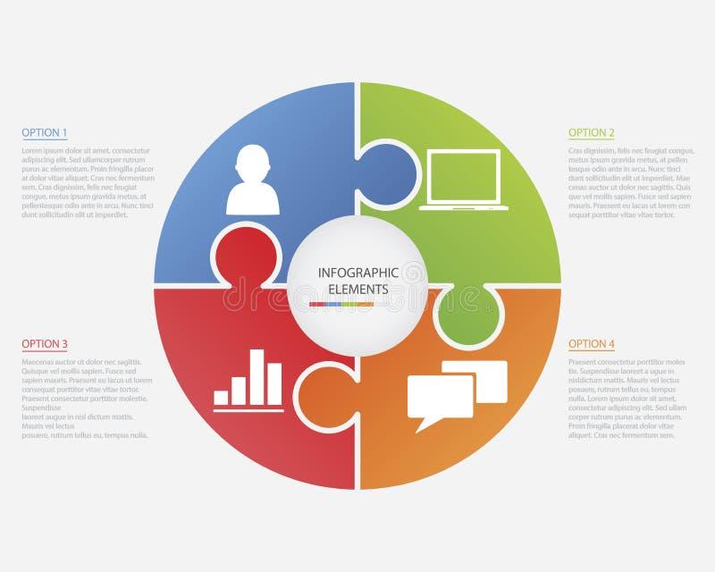 Головоломка Infographic круга иллюстрация вектора