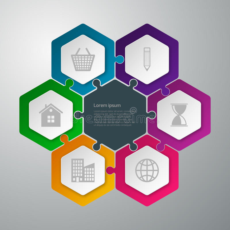 Головоломка infographics иллюстрации вектора соединенная шестиугольниками бесплатная иллюстрация