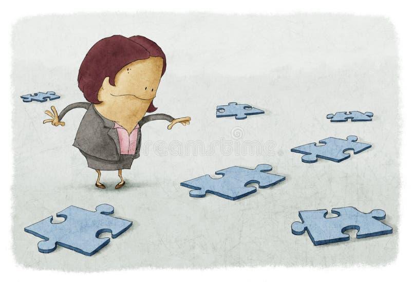 Головоломки бизнес-леди бесплатная иллюстрация