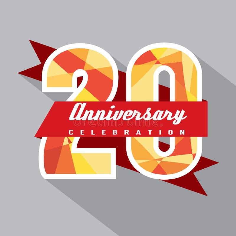 20 годовщины лет дизайна торжества иллюстрация штока