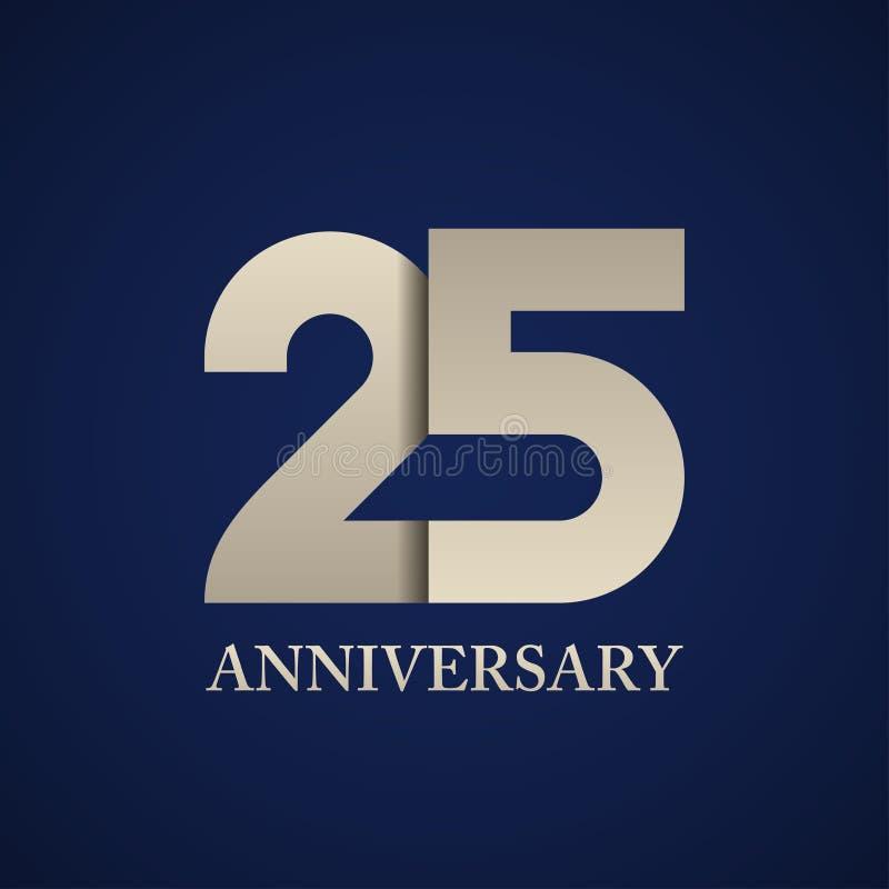 25 годовщины лет номера бумаги иллюстрация вектора